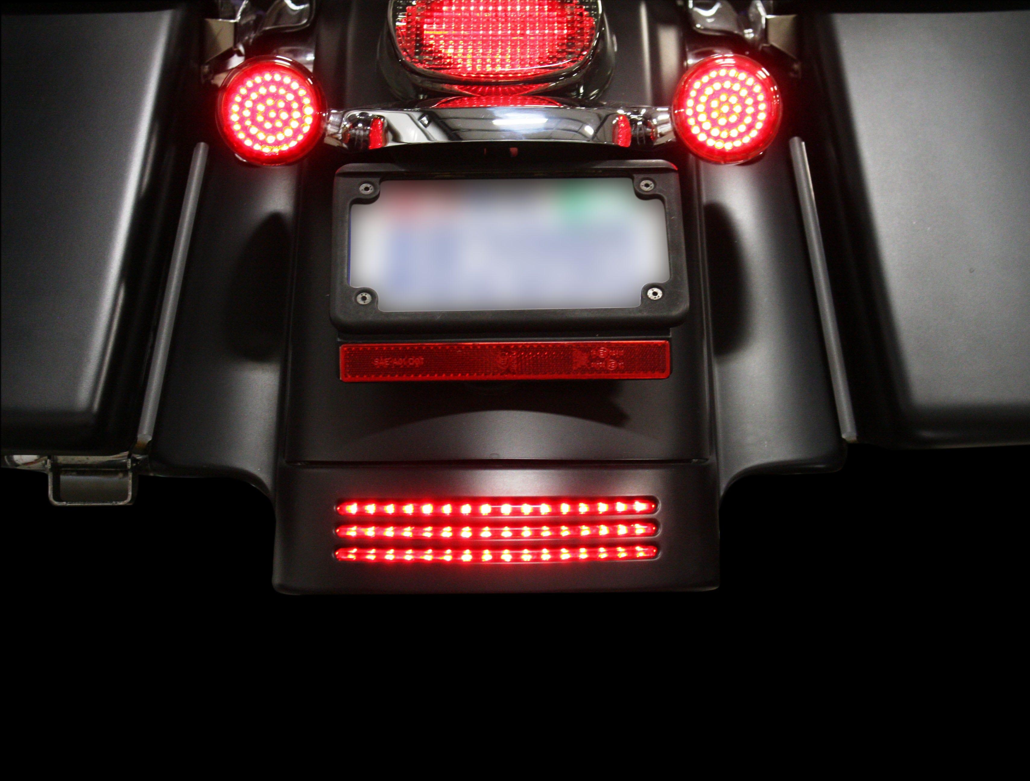 Custom dynamics red lens 48 led tri bar light fender tip harley flhx image is loading custom dynamics red lens 48 led tri bar mozeypictures Choice Image