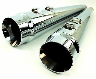 DNA-Chrome-4-034-Megaphone-Tapered-Slip-On-Mufflers-95-16-Harley-Touring-FLH-T Indexbild 4