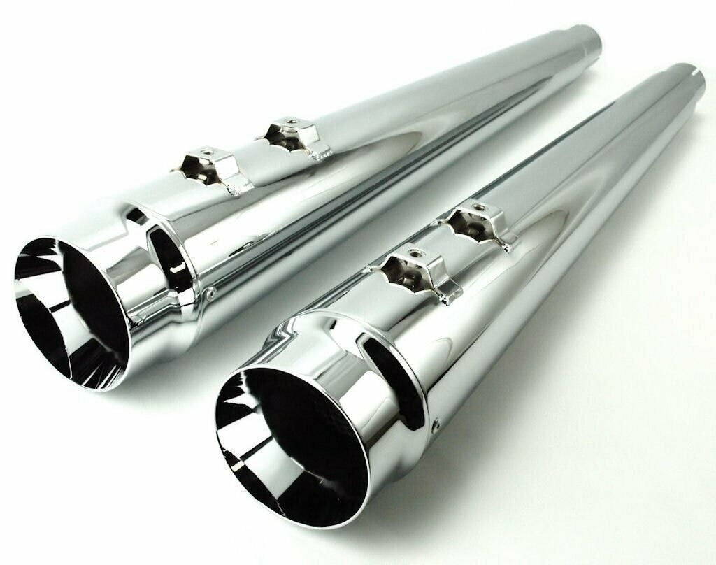 DNA-Chrome-4-034-Megaphone-Tapered-Slip-On-Mufflers-95-16-Harley-Touring-FLH-T